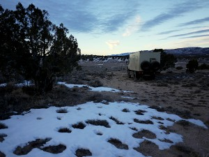 Camp in Nevada. Still snow but getting warmer.