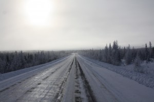 The lonely road. James Bay Rd. Quebec December 2012