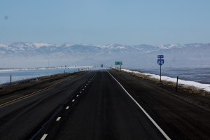 From Salt Lake to Salt Flats. Can't go straighter than this. Utah February 2013