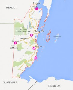 Camp spots (by number) Belize 2013