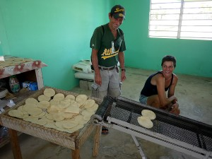 Visiting the tortilla house with Rabey. Sarteneja, Belize November 2013