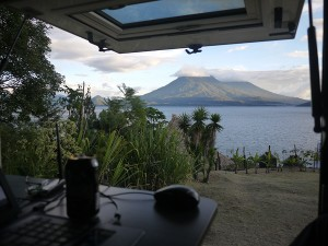 Our view is more impressive then the spot we are parking on... Pasaj Cap, San Marcos la Laguna Lake Atitlan, December 2013
