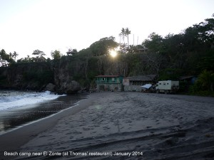 Beach camp in front of Thomas' place January 2014