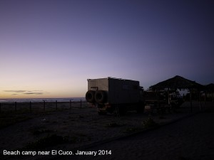 Beach camp near El Cuco January 2014